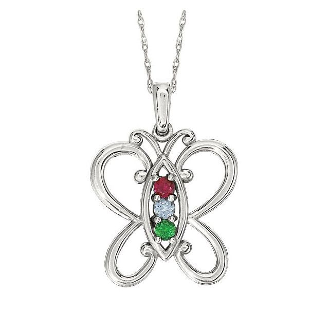 Build Your Necklace 925 Sterling Silver 2 Round Birthstones Double Heart Necklace with Chain