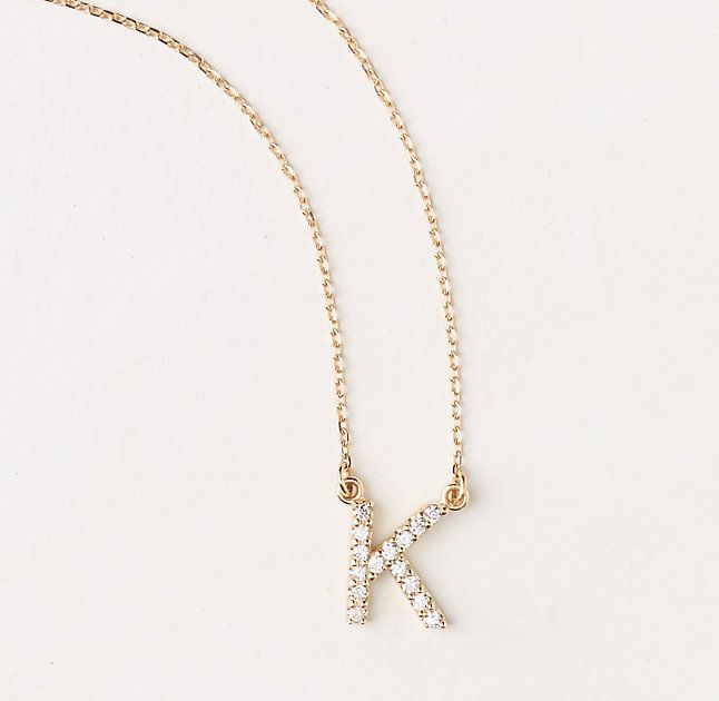$595, 14k Gold Diamond Initial Necklace, diamond initial necklace, 14k gold necklace, teen jewelry, graduation gift ideas   #ThreeSistersJewelryDesign for RH Teen