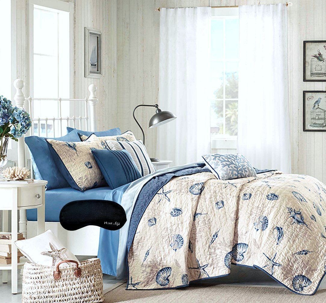 Amazon Com King Cal King Coastal Ocean Beach Theme Starfish Seashell Super Soft Quilt Coverlet 2 Shams Gorgeous Pillows Coastal Bedding Sets House Styles