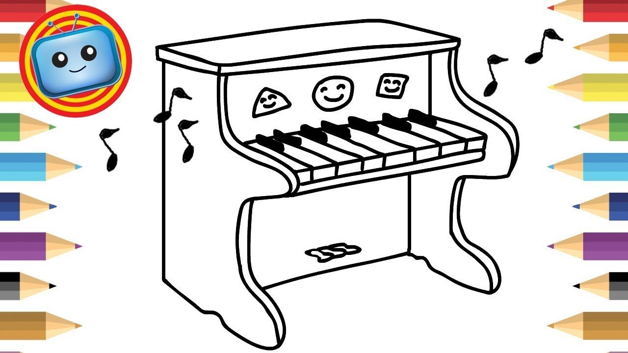 How to draw a toy piano colouring book simple drawing