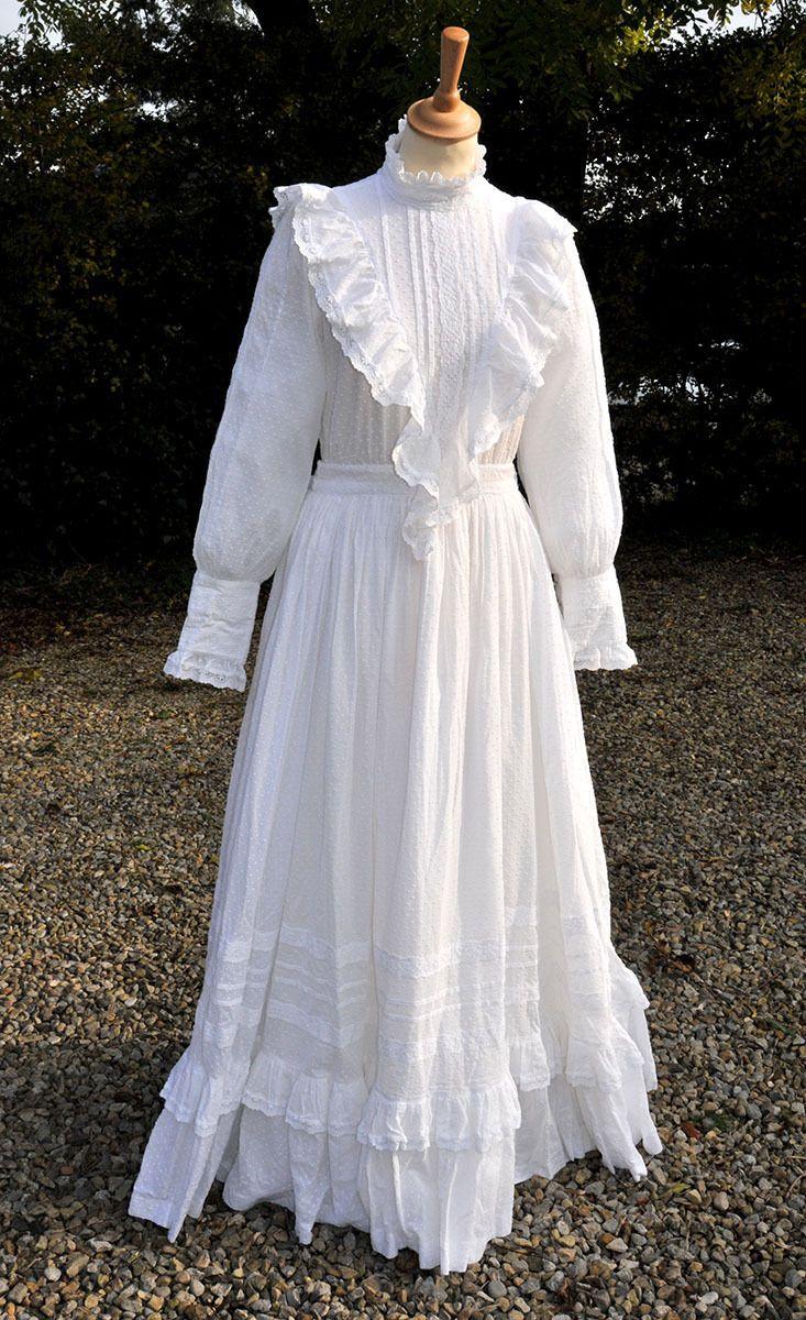 Vintage Laura Ashley Wedding Dress Edwardian Style