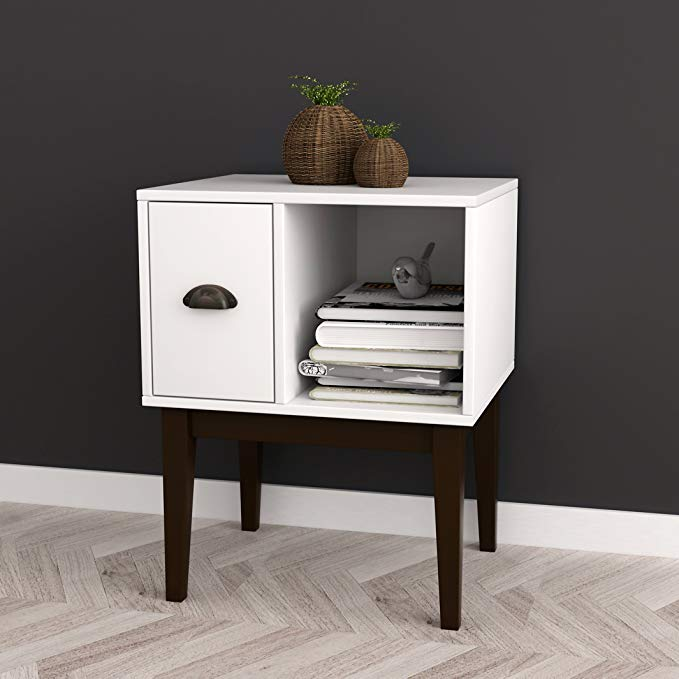 Amazon Com White Espresso Nightstand Side End Table With Drawer
