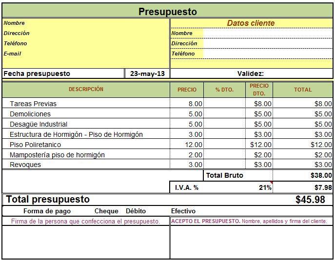 Planilla de excel para presupuesto de 687 534 - Presupuestos de obras ...