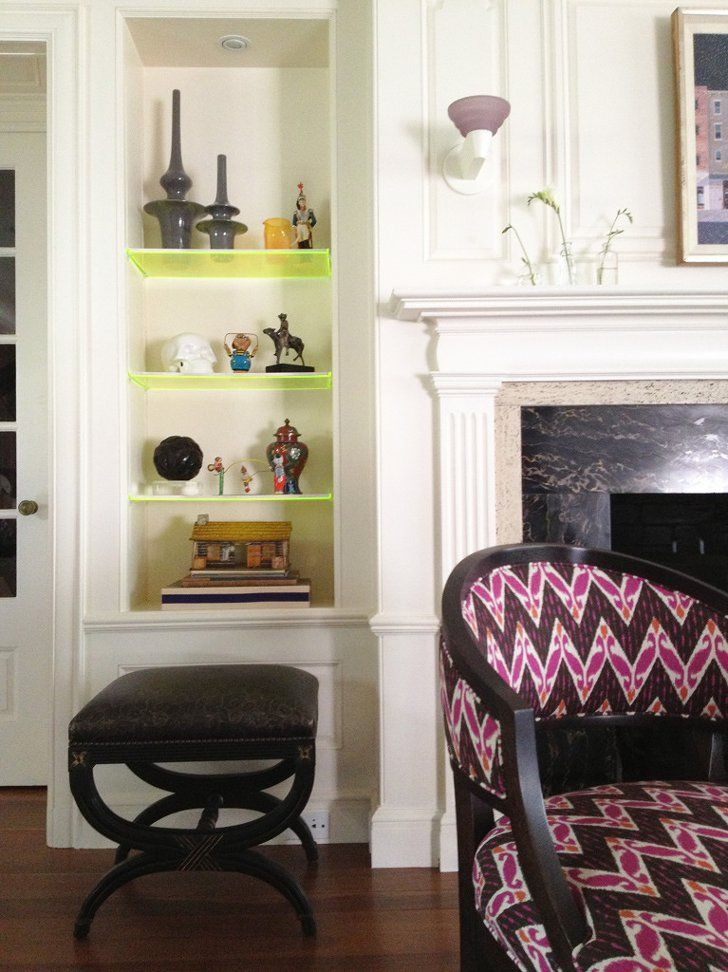 Pin for Later: 11 Totally Unexpected Ways to Style Your Bookshelf Consider Neon Shelving