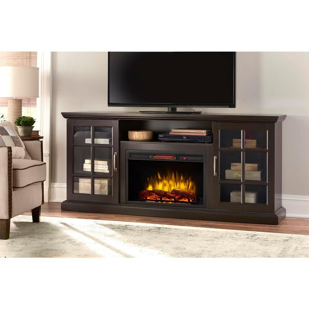 Home Decorators Collection Edenfield 70 In Freestanding Infrared Electric Fireplace Tv Stand In Espresso 365 741 48 Y The Home Depot Electric Fireplace Tv Stand Fireplace Tv Stand Fireplace Tv