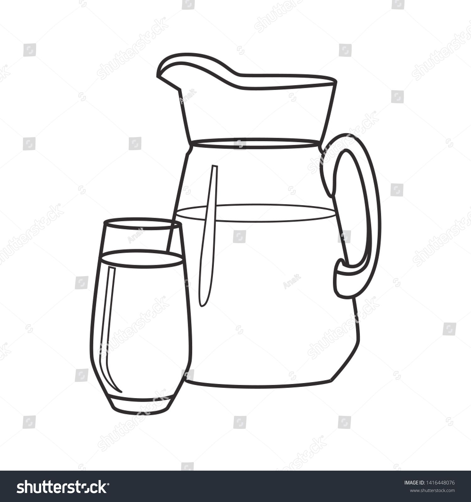 A Jug Of Water Or Milk Decanter With A Glass Of Liquid Linear Icon N Ad Ad Milk Decanter Jug Water Decanter Jugs Glass