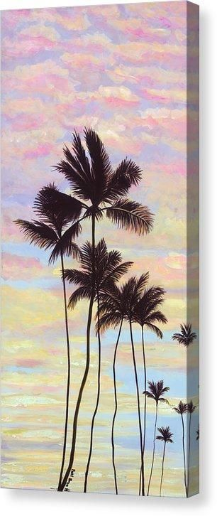 Cotton Candy Clouds Tropical Sunrise and Palms – Archival Print – 10.5 x 24 / Mirrored / Matte