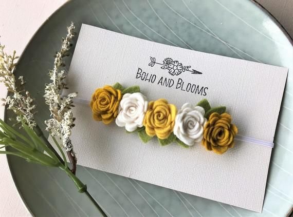 Felt flower headband - newborn through adult - Mustard and ivory #feltflowerheadbands