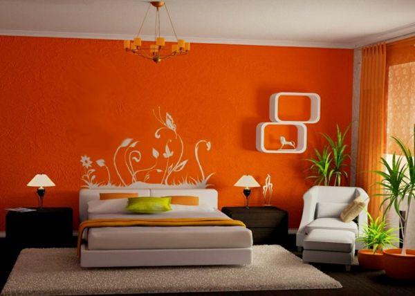 Farbideen Schlafzimmer, die Sie bei der Zimmergestaltung - schlafzimmer orange