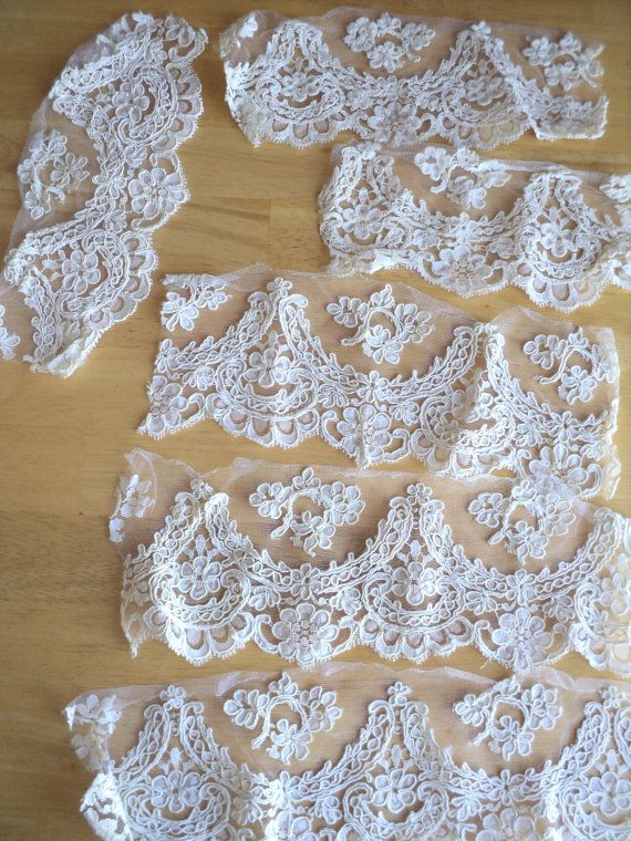Lace Trim Pieces Cream French Lace Lot 5 by littlecleoathome,