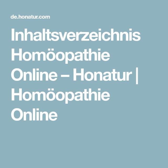 Inhaltsverzeichnis Homöopathie Online Honatur