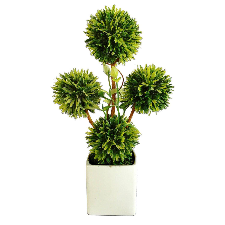 VGIA Bonsai Decorative  Artificial Tabletop Topiary Plants W/ White Planter  Pots * See This