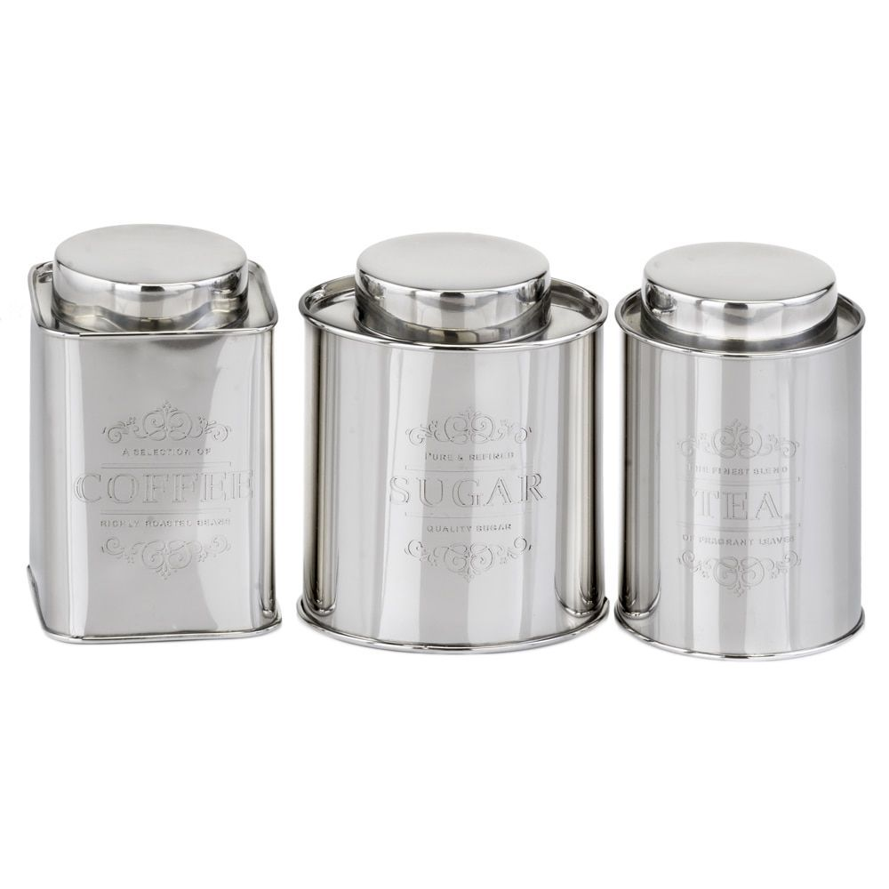 Accents 3 Piece Stainless Steel Coffee Tea Sugar Canisters Silver