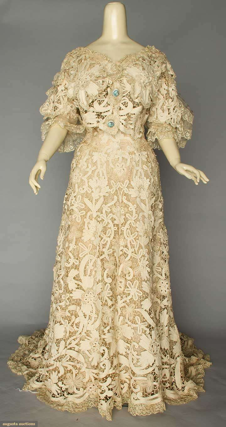 Trained battenburg lace gown c piece gown of heavy cream