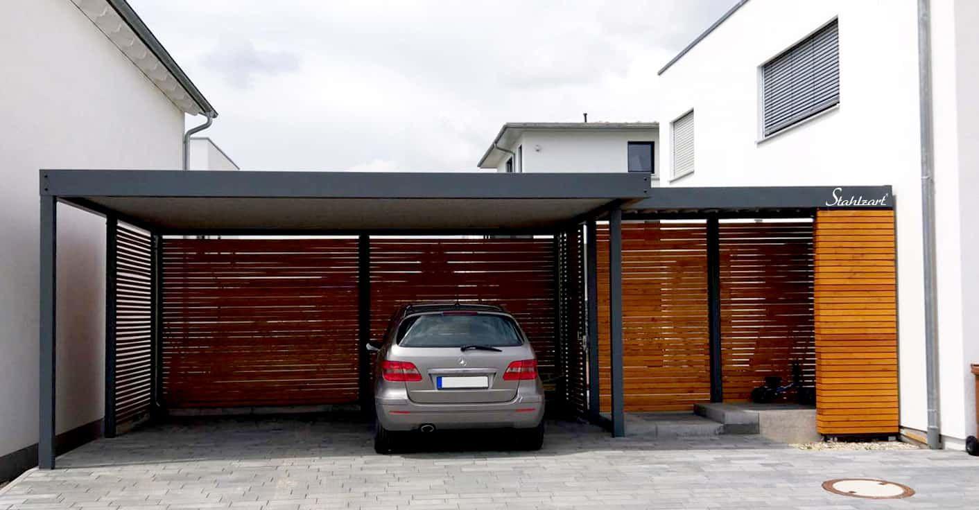 Modernes Vordach von Stahlzart. Haustür Überdachung