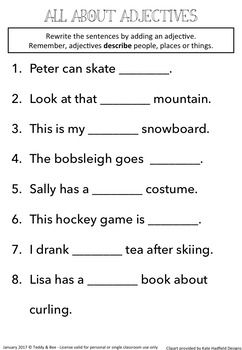 Winter Sports - Literacy worksheets for the 2nd grade ...