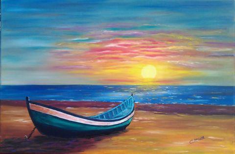 Amilcar Barque Au Coucher De Soleil Dessin Plage Peinture