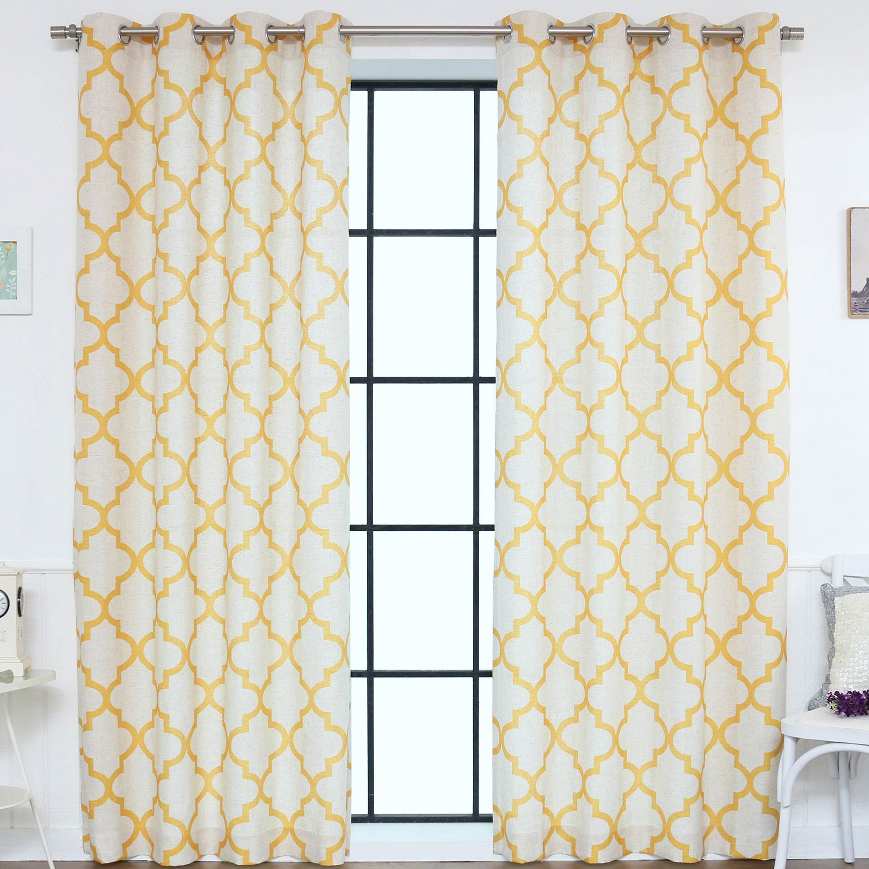 Moroccan tile curtain panels products pinterest curtains