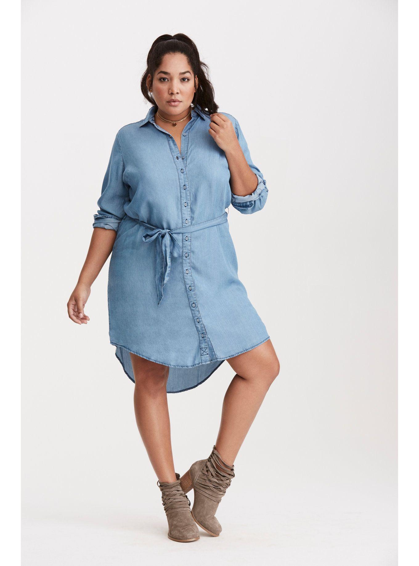 Plus Size Chambray Button Front Shirt Dress Chambray Style