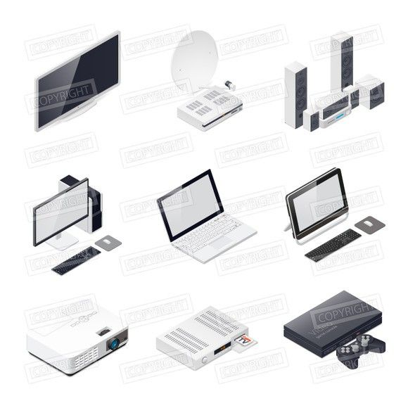 Home entertainment devices icon set. Technology icons. $10.00