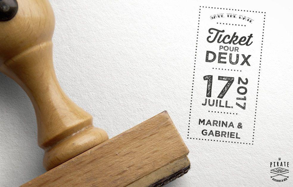 Tampon Mariage Ticket Fête Foraine, esprit guinguette