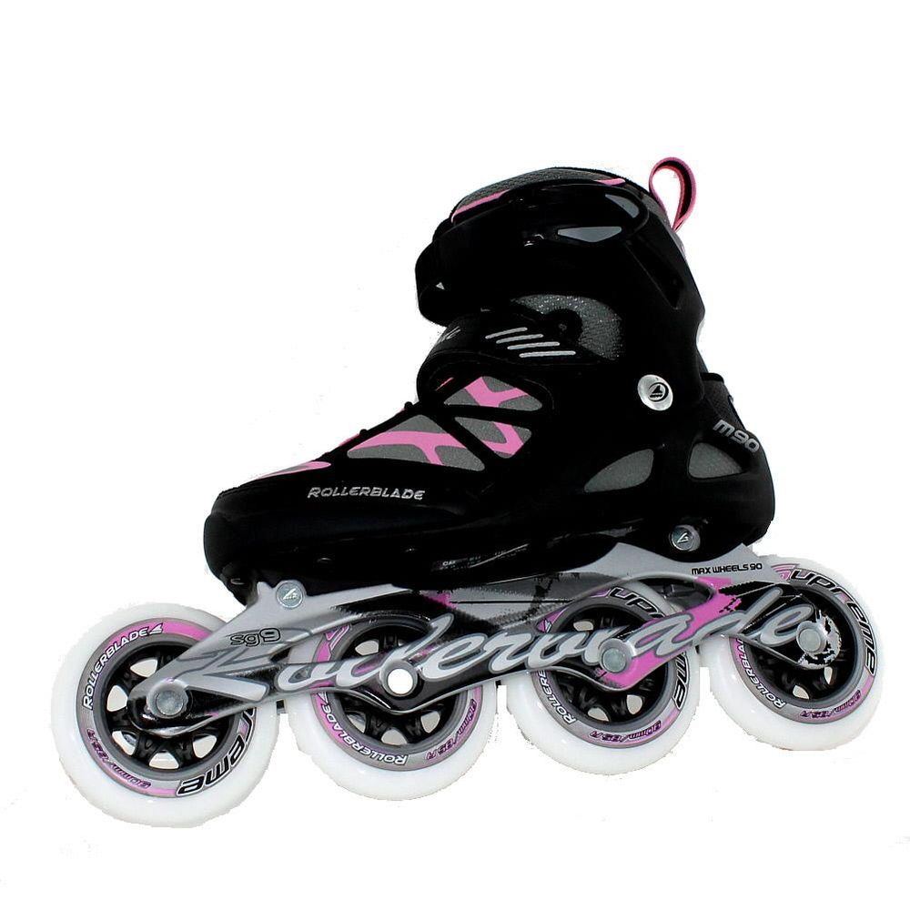 Roller skate shoes size 10 - Rollerblade Macroblade 90 W Black Pink Womens Inline Skates Size 10 M