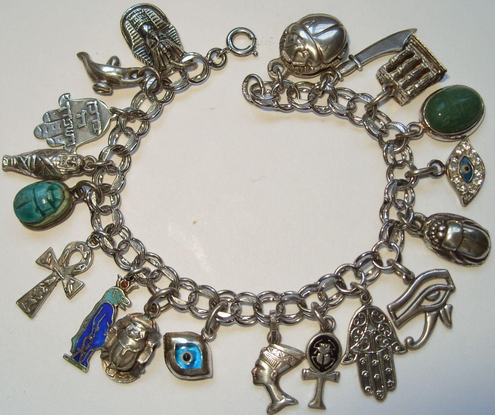 Vintage Sterling Silver Egyptian Charms Bracelet Enamel Evil Eyes