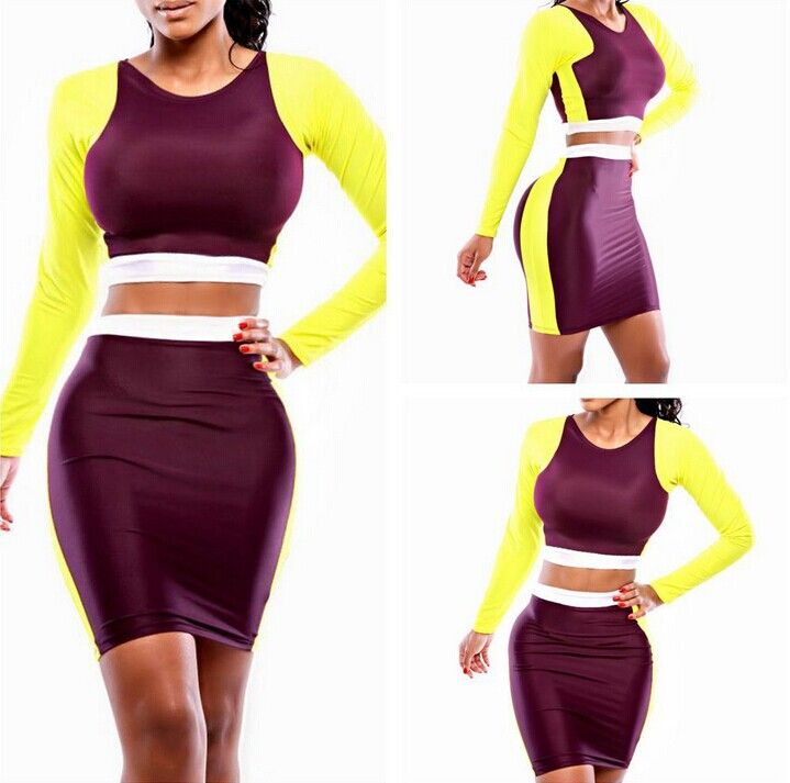 SUMMER HOT FASHION HIGH WAIST KNEE-LENGTH 2 PIECES CONTRAST COLOR PATCHWORK DRESSES LADIES NIGHTCLUB PARTY WEAR BANDAGE BODYCON DRESS