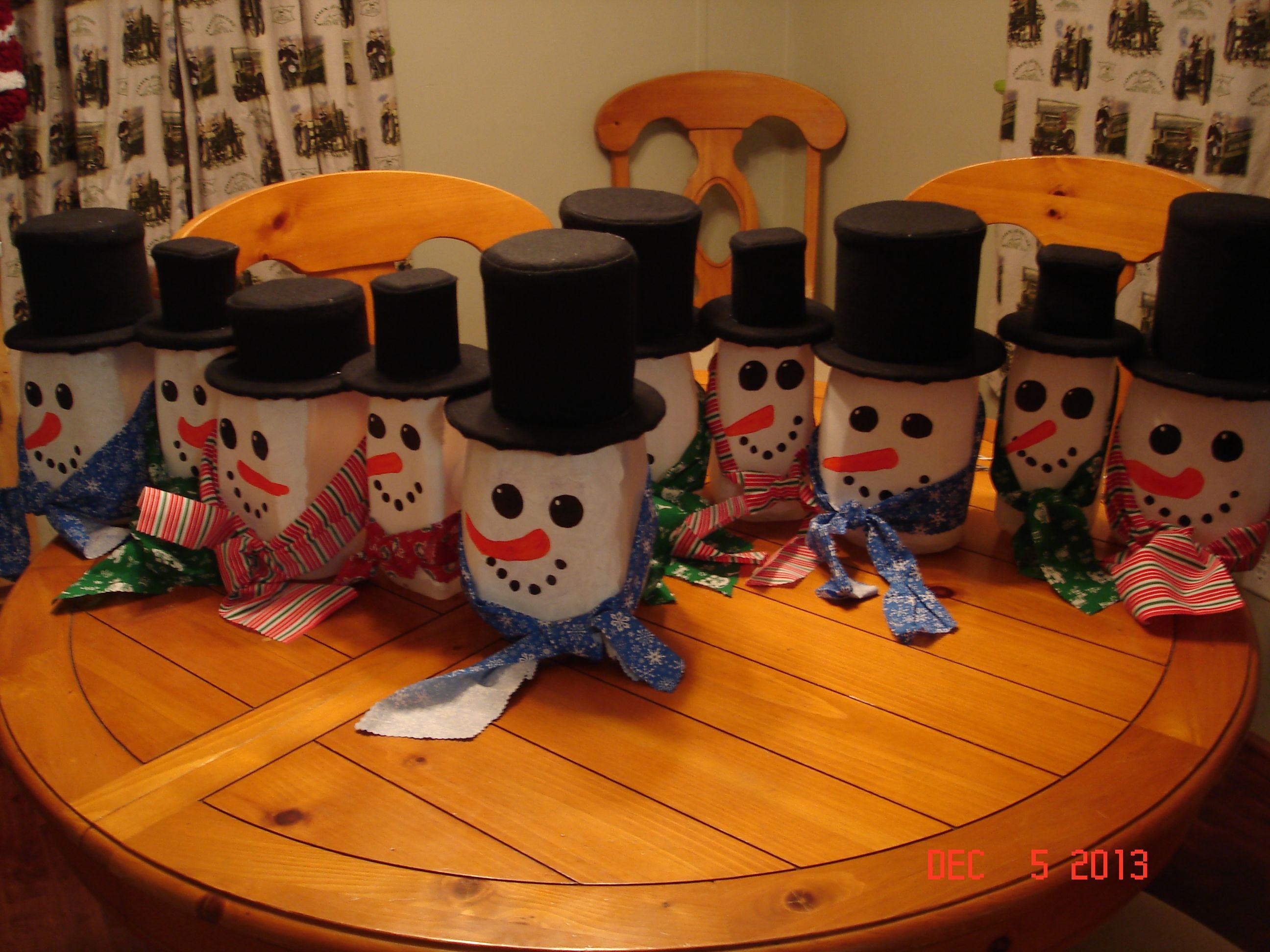 Diy snowman milk jugs milk jug crafts diy snowman