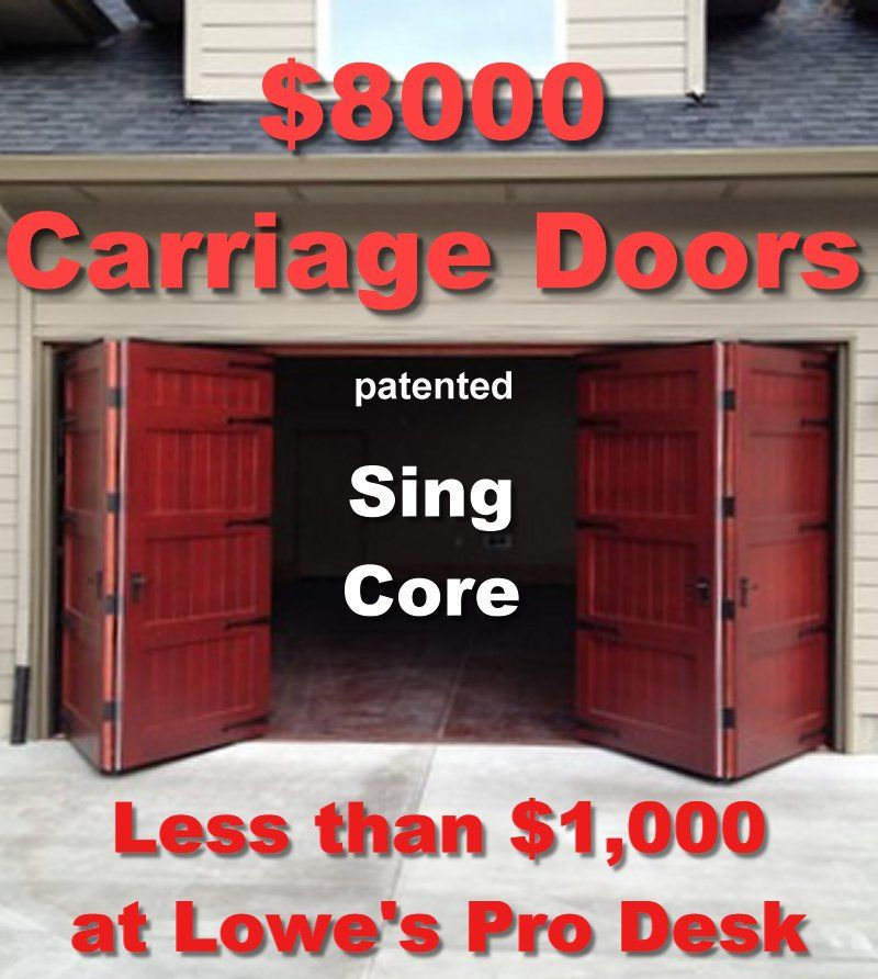 8 Thousand Dollar Bi Fold Carriage Doors Mfg For 1 Thousand Dollars Sing Core At Lowes Home Improvement Garage Doors Carriage Doors Folding Garage Doors