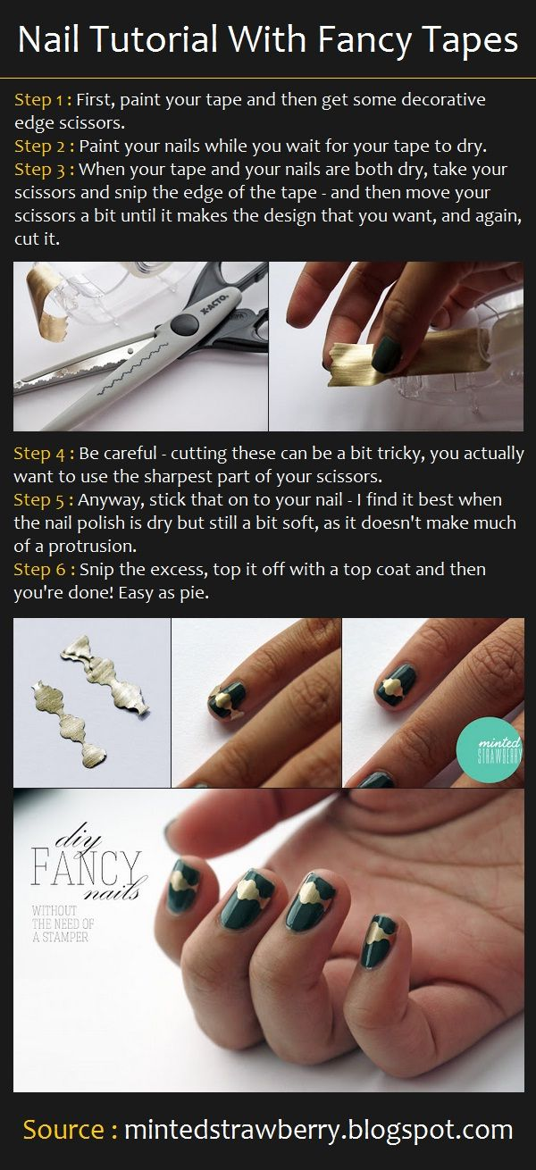Nail Art Tutorial With Fancy Tapes Nail Love Pinterest Art