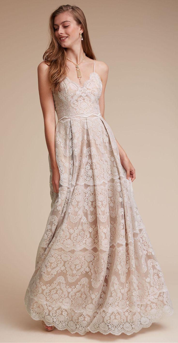Popular Lace Vintage Wedding Dress Spaghetti Strap Wedding Dress