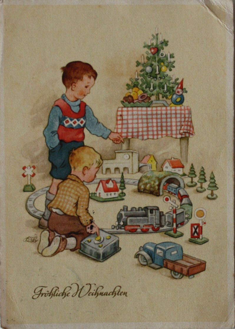 weihnachten kinder spielen mit eisenbahn kurt brandes. Black Bedroom Furniture Sets. Home Design Ideas