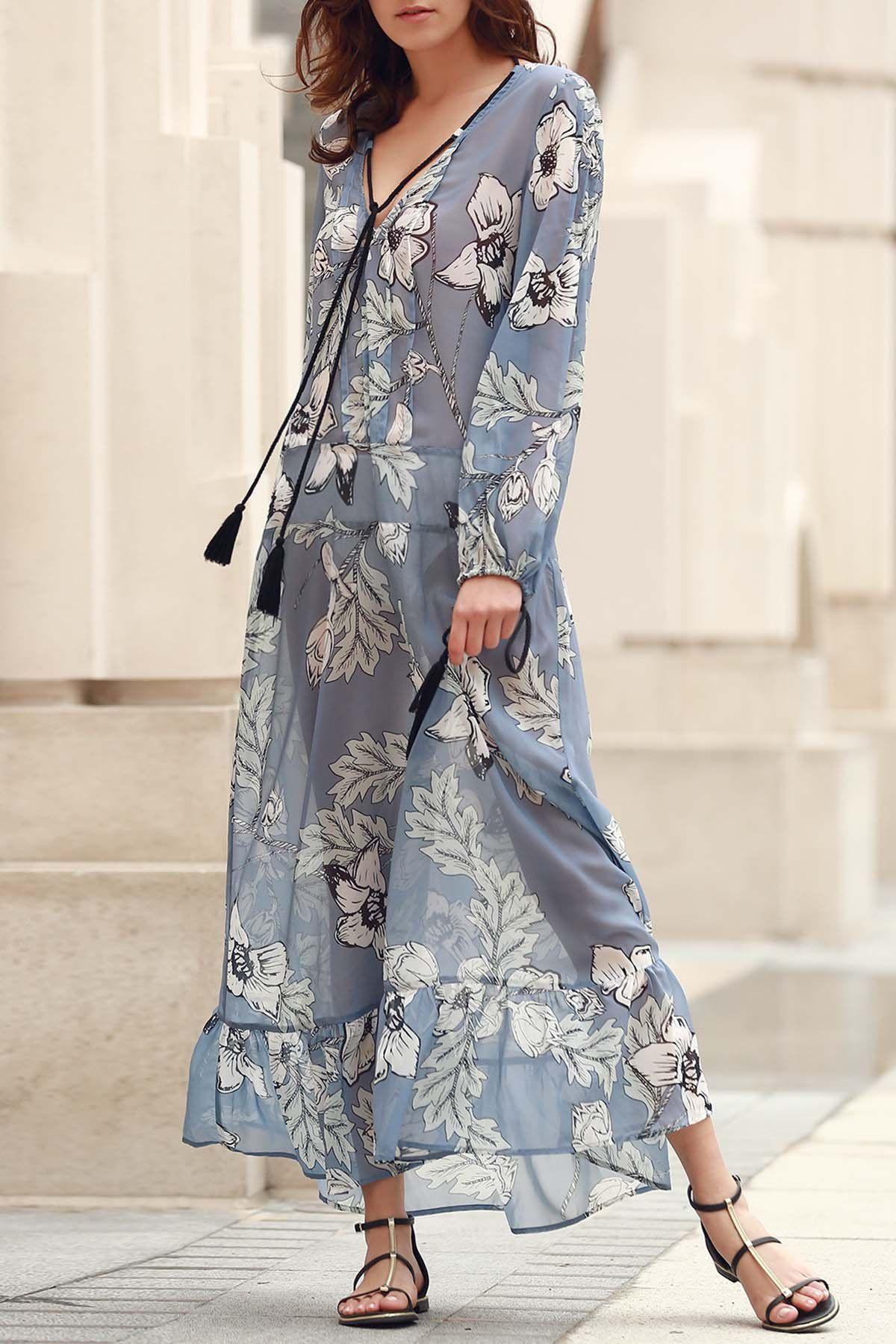 V-Neck Floral Print Boho Dress Lange Röcke, Maxi Kleider, Modische Kleider  Für b8a661f174
