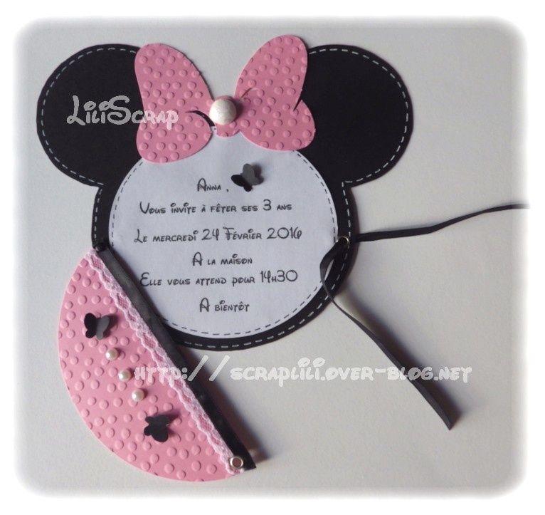 Faire-Part ou Carte dinvitation thème Mickey et Minnie