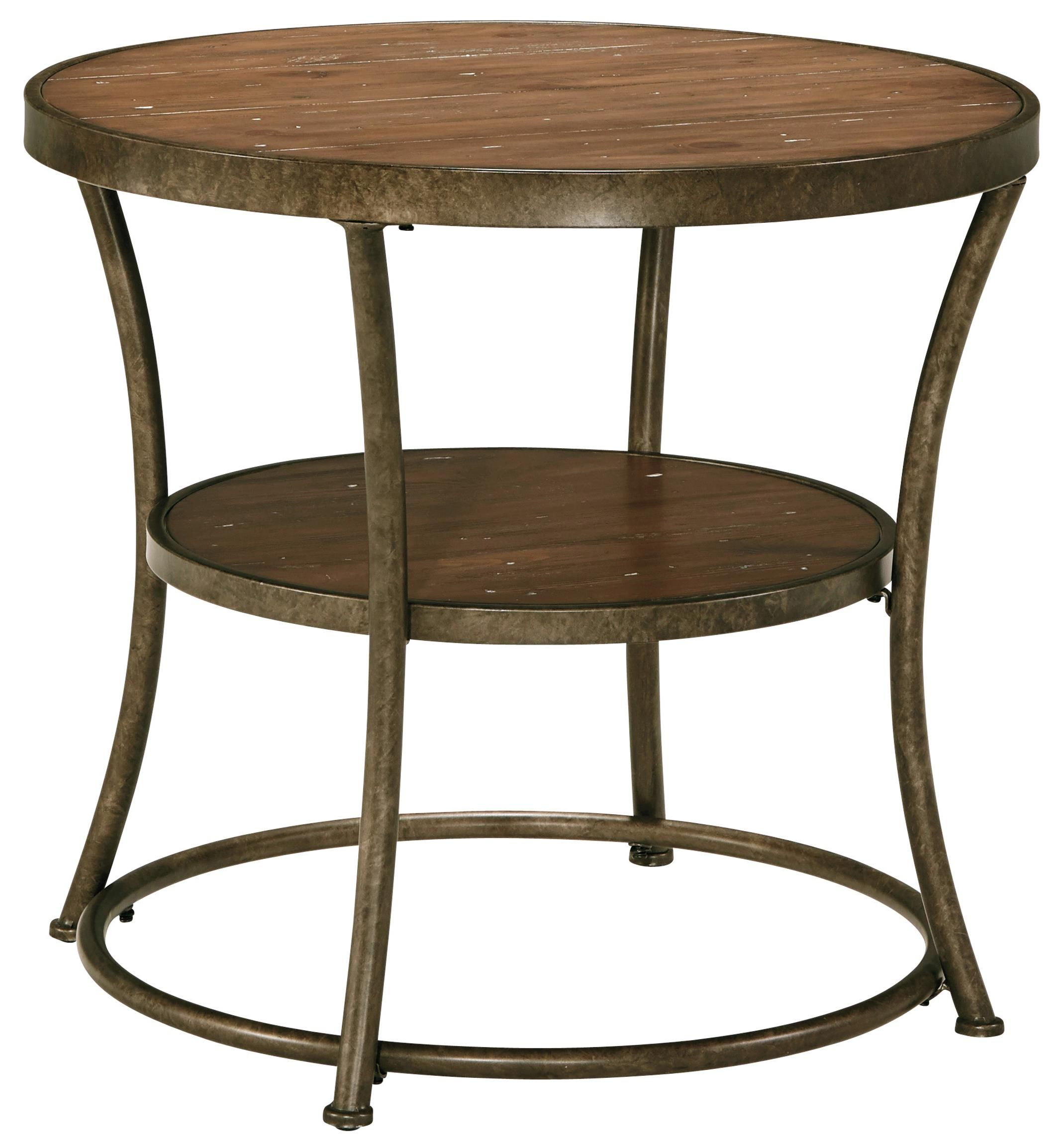 The Shaped Bronze Color Shaped Tubular Metal Frame Gives This Round End Table A Retro Flair That Will Ma End Tables Affordable Farmhouse Decor Ashley Furniture