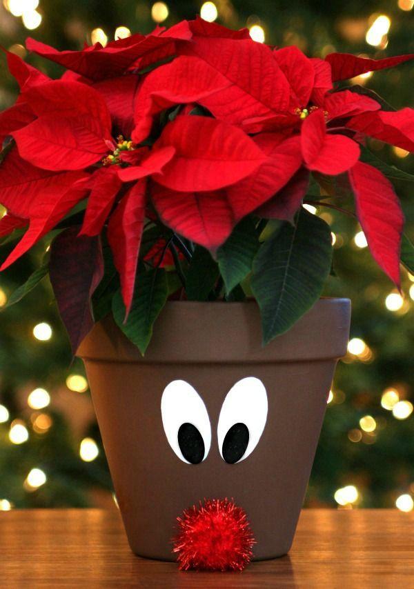 Christmas Flower Pots.Reindeer Flower Pots Clay Pot Crafts Xmas Crafts