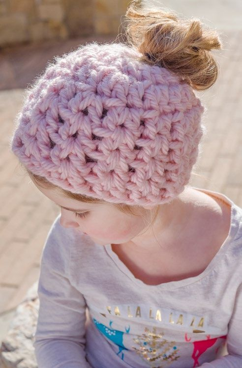 Free Childs' Messy Bun Hat Crochet Pattern from www.RedHeart.com