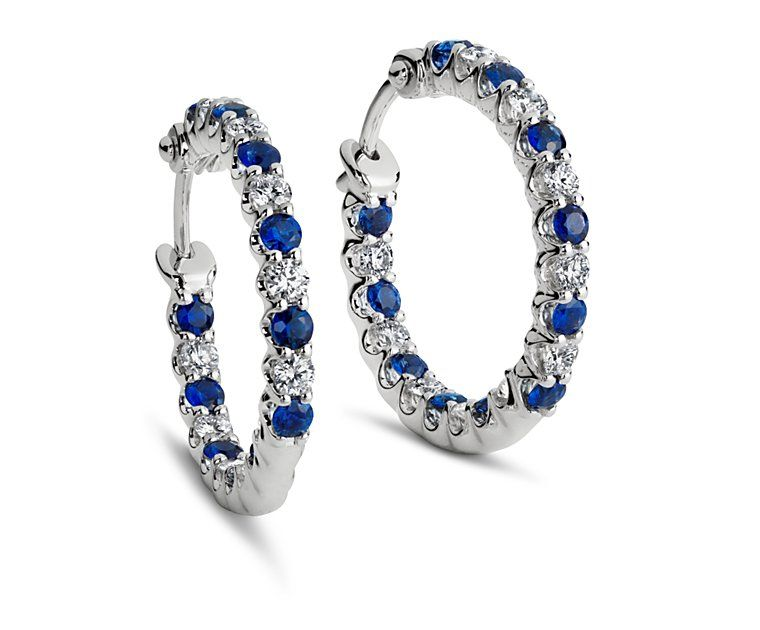 2d05a3fa38348b Sapphire and Diamond Hoop Earrings in 18k White Gold - wedding gift ...