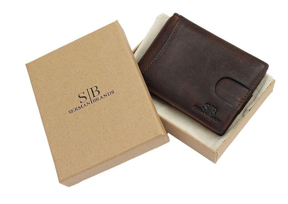c33b2b8ce80 SERMAN BRANDS- RFID Blocking Bifold Slim GENUINE LEATHER Thin Men Pocket  Wallet  SERMANBRANDS  Bifold