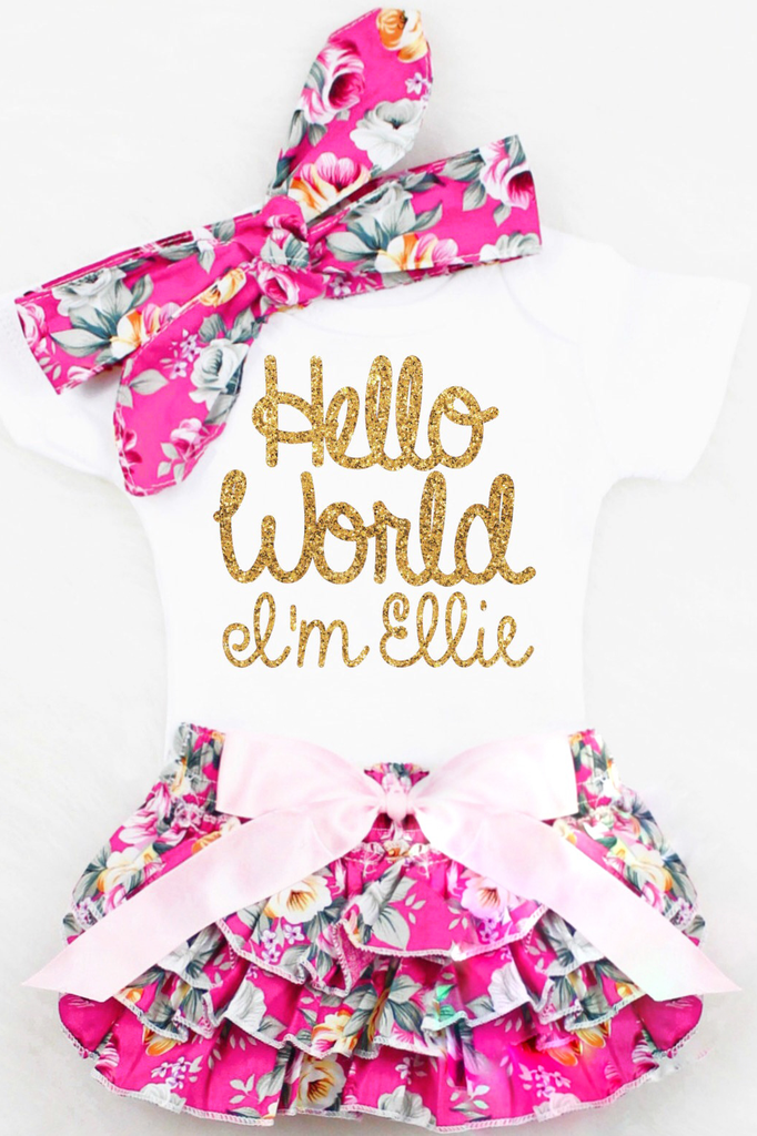 fc6c420a015 Baby Girl Coming Home Outfit Hello World Onesie