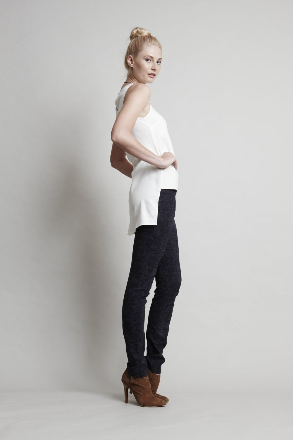 Mottled denim cigarette pants by Three Little Ducks