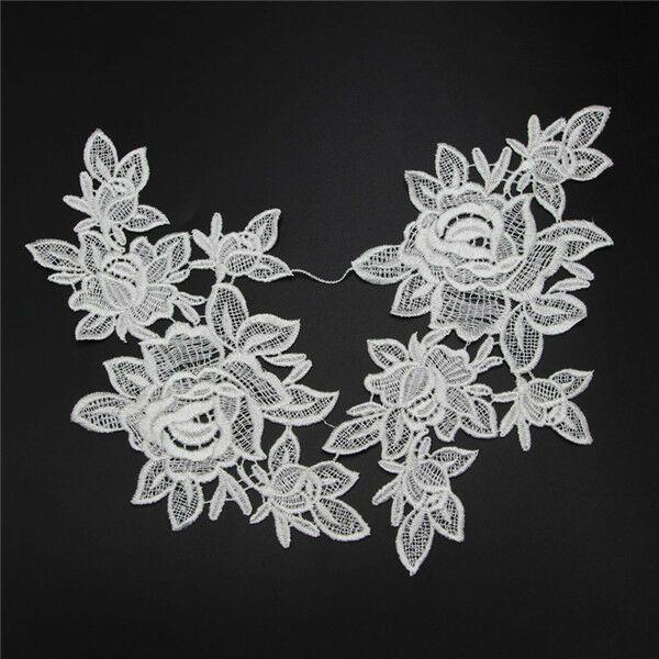 1 Pair Polyester Venise Venice Floral Flower Motif Lace Trims Sew Applique Craft