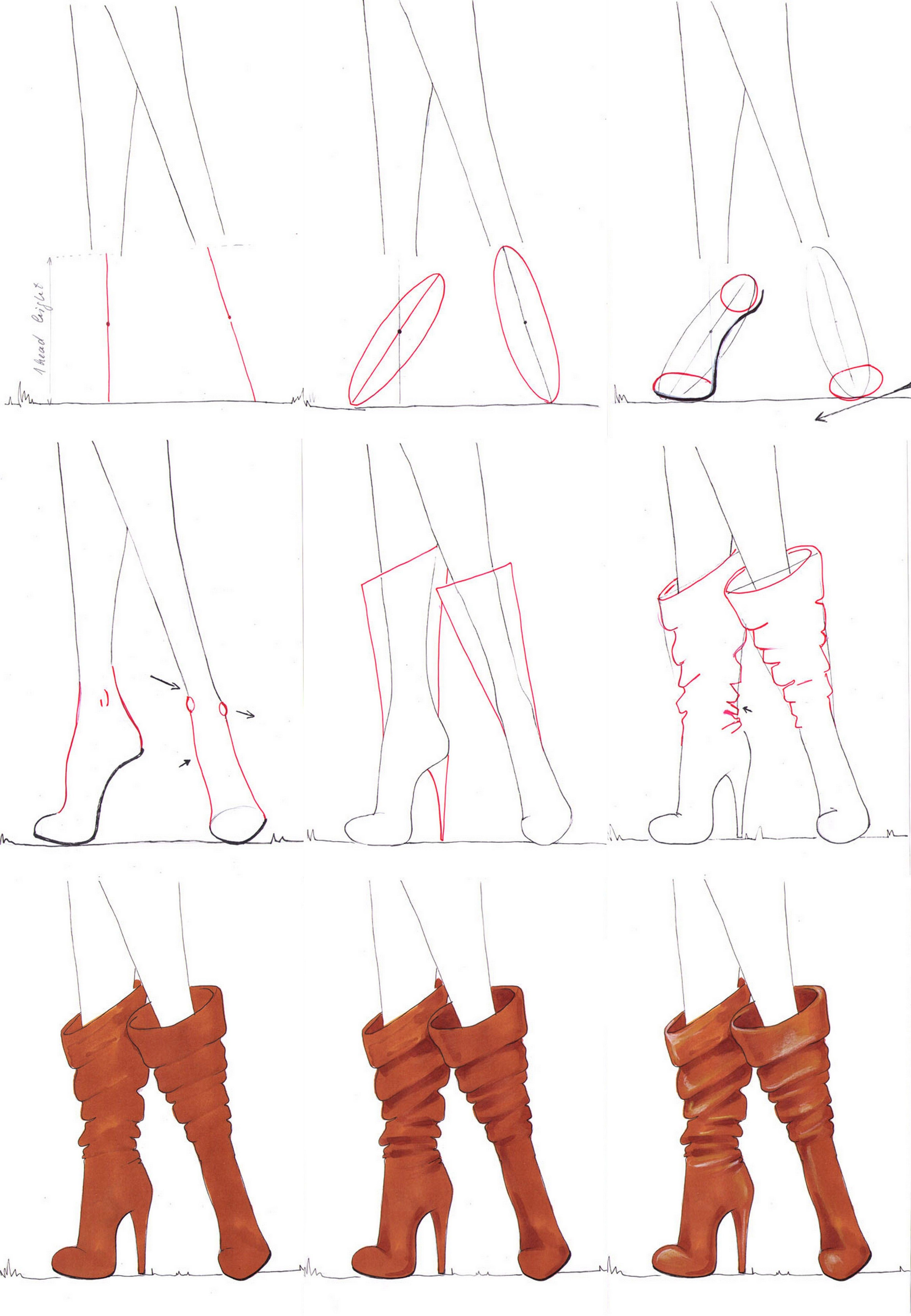 A step by step tutorial on how to draw boots