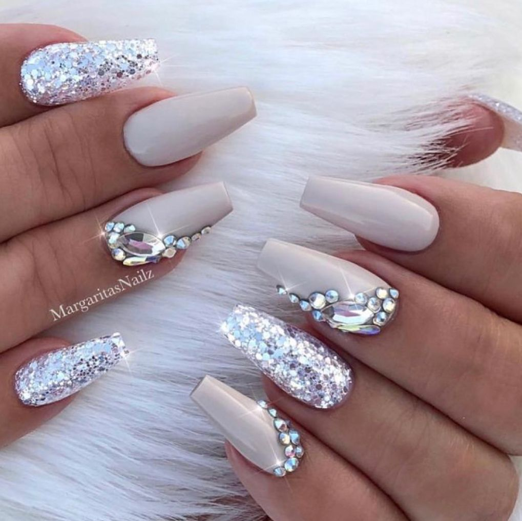 Taupe nails with silver design and rhinestones | #coffinnails #nails ...