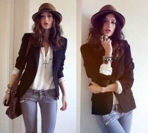 d2afa14941033 blazer feminino preto e chpéu panamá com calça jeans   Moda ...