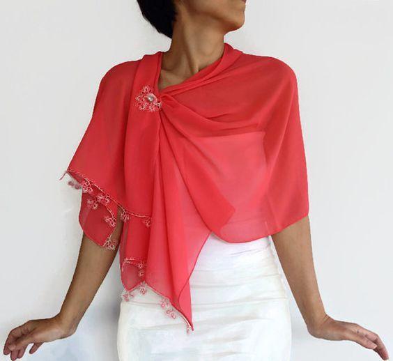 Photo of Couture chiffon scarf & pin brooch, handmade Tatting e …