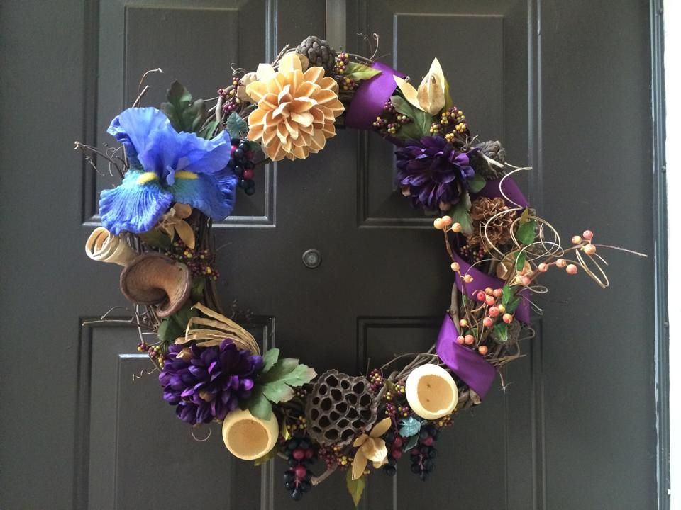 18 inch dried flowers and grapes wreath. custom made by awreathforyouca
