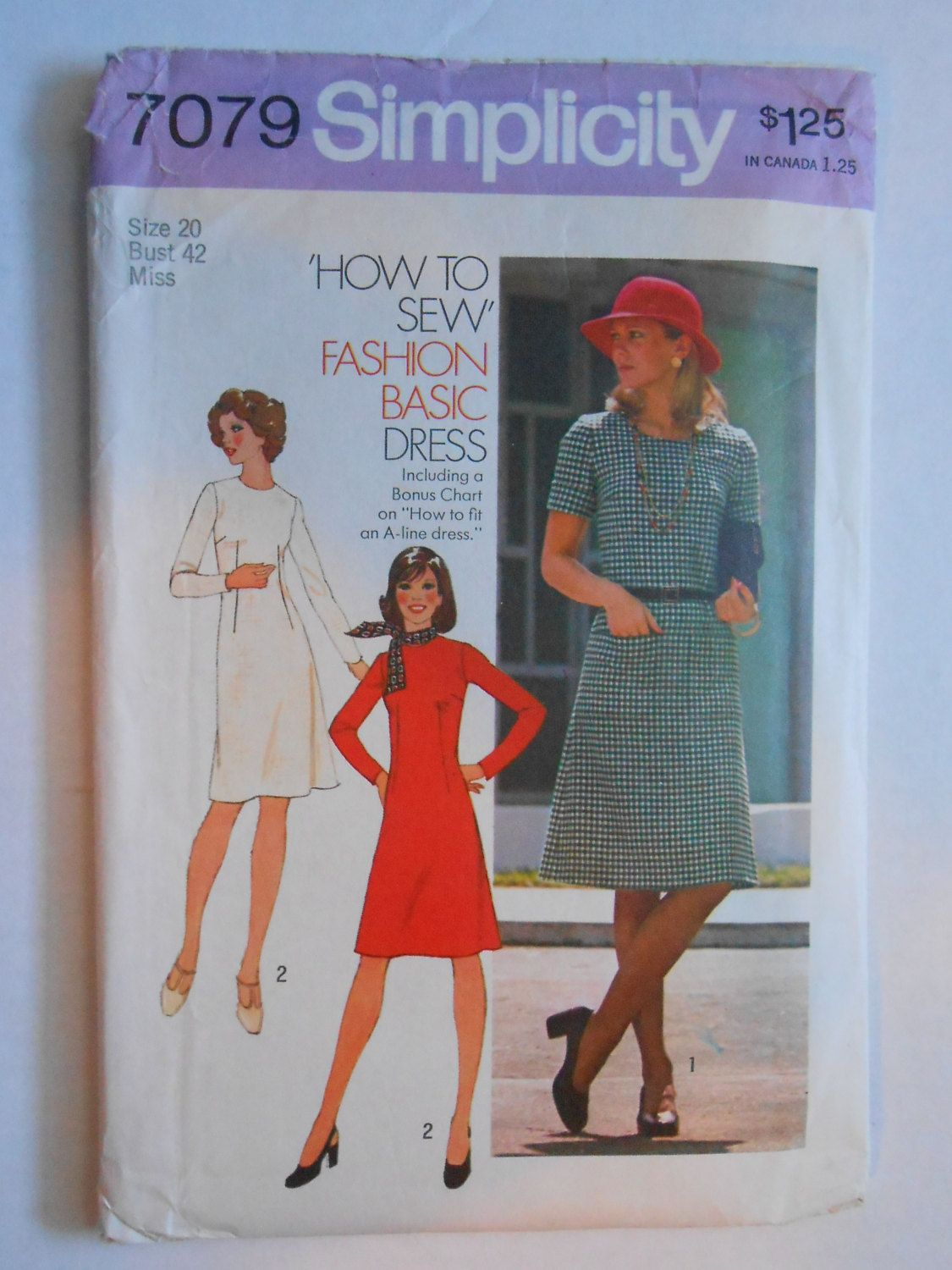 Vintage 70s Basic A Line Dress How to Sew Pattern Simplicity ...