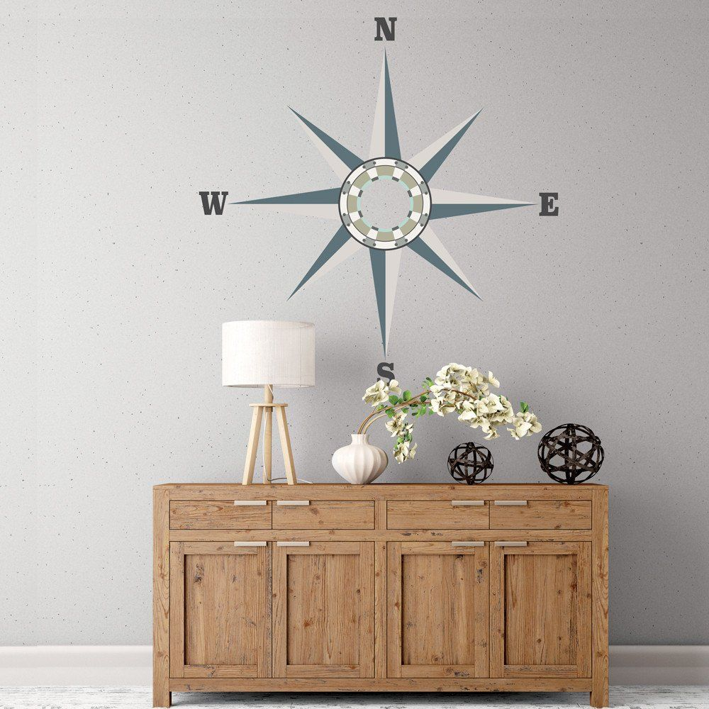 Large Neutral Nautical Compass Wall Decal Eco Friendly Removable - How do i put on a wall decal